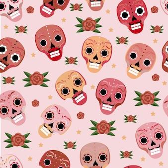 Dag van de dode mexicaanse naadloze patroon. dia de los muertos