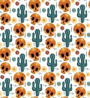 Dag van de dode naadloze patroon. dia de los muertos hand tekenen herhalende textuur. mexicaanse vakantie halloween met suikerschedels achtergrondbehang of papier. vector illustratie.