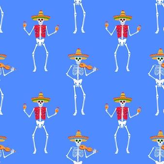 Dag van de dode partij. dea de los muertos naadloos patroon. geschilderde skeletten bespelen muziekinstrumenten en dansen.