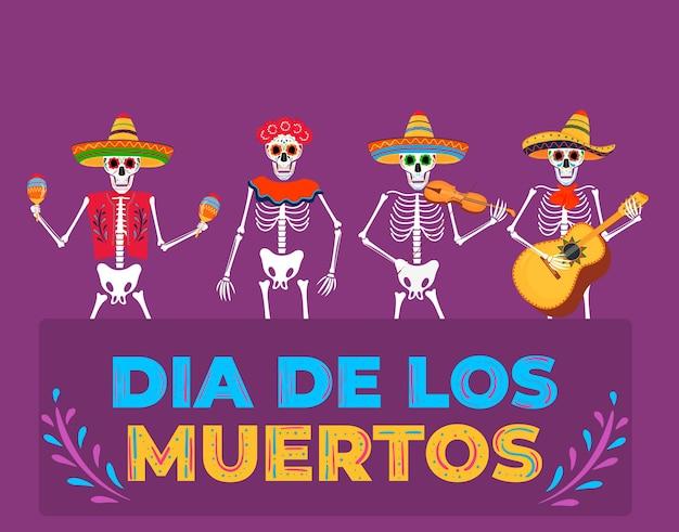 Dag van de dode partij. dia de los muertos-banner. geschilderde skeletten bespelen muziekinstrumenten.