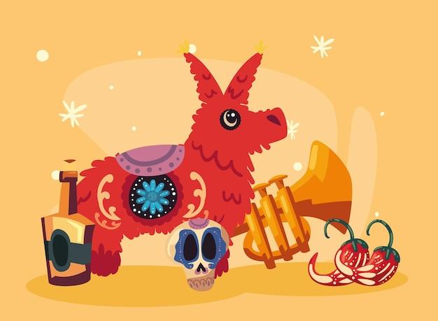 Dag van de dode piñata met pictogrammen