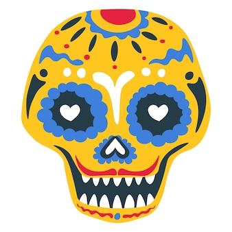 Dag van de dode traditie van het schilderen van de schedel, mexicaanse vakantieviering. geïsoleerde calavera met ornamenten en decoratieve lijnen. zombiemake-up met snor, bloemendecorvector in vlakke stijl