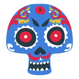 Dag van de dode viering in mexico, geïsoleerde schedel met verf, ornamenten en decoratieve lijnen. dia de los muertos traditie voor halloween. tribale wortels en make-upexpressie, vector in flat