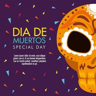 Dag van de dode viering met schedeldecoratie