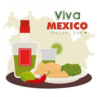 Dag van de dode viering met tequilafles en voedsel