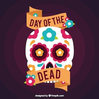 Dag van de doden achtergrond met mexicaanse decoratieve schedel