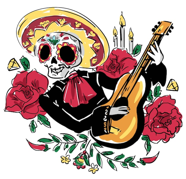 Dag van de doden briefkaart vectorillustratie. mexicaanse dia de los muertos. ansichtkaart