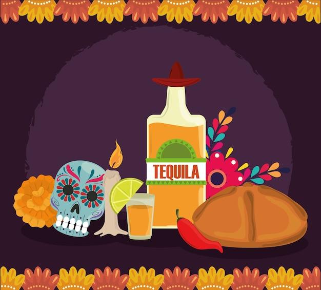 Dag van de doden, catrina brood tequila kaars en bloemendecoratie, mexicaanse viering vectorillustratie