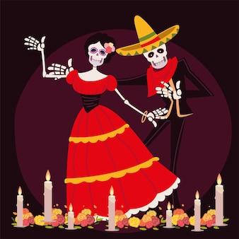 Dag van de doden, catrina en skelet met mexicaanse kostuumviering