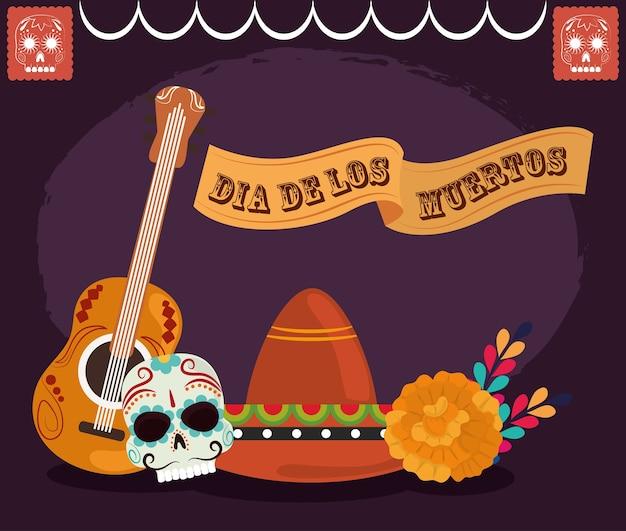 Dag van de doden, catrina hoed gitaar en bloemen kaart, mexicaanse viering vectorillustratie