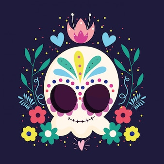 Dag van de doden, catrina schedel bloemenlijst verlaat traditionele mexicaanse viering