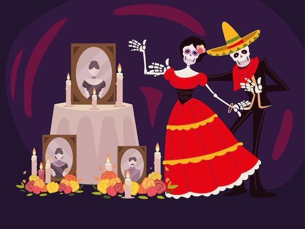 Dag van de doden, catrina-skeletaltaar met foto's, kaarsen en bloemen, mexicaanse viering