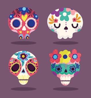 Dag van de doden, decoratieve suiker catrinas bloemen cultuur traditionele viering mexicaanse iconen