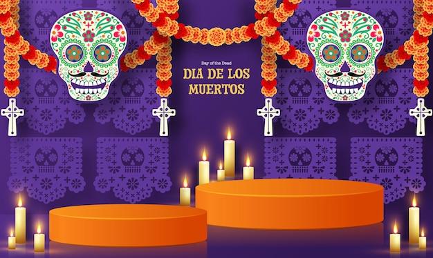 Dag van de doden dia de los muertos 3d podium rond vierkant podium met papier gesneden