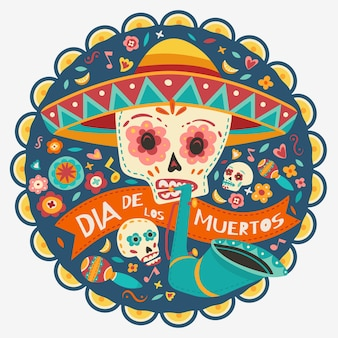 Dag van de doden, dia de los muertos, schedels met bloemen, kaarsen. vector illustratie.