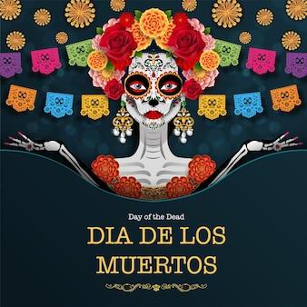 Dag van de doden, dia de los muertos, suikerschedel met goudsbloem bloemen krans op papier zwarte kleur achtergrond.
