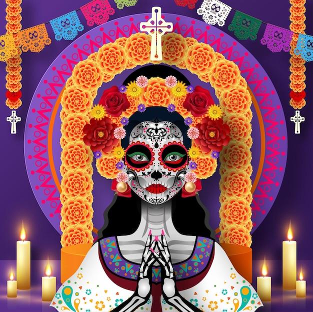 Dag van de doden dia de los muertos suikerschedel met goudsbloembloemen