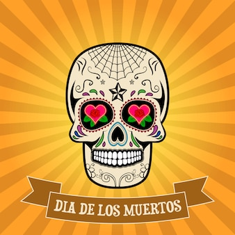 Dag van de doden. dia de los muertos. suikerschedel op vintage achtergrond met banner.