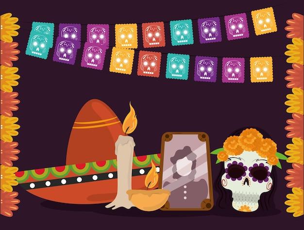 Dag van de doden, fotolijst hoed catrina kaars en bloemen, mexicaanse viering vectorillustratie