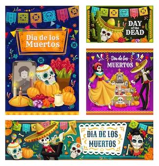 Dag van de doden mexicaanse suikerschedels, skeletten