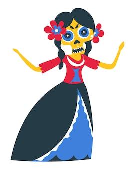 Dag van de doden, mexicaanse traditionele dansen en outfit van vrouwen. geïsoleerd vrouwelijk personage in jurk met make-up van schedel, ornamenten en bloemen in het haar. tradities en cultuur, vector in flat