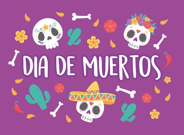 Dag van de doden, mexicaanse viering suiker schedels bloemen hoed cactus en botten achtergrond.