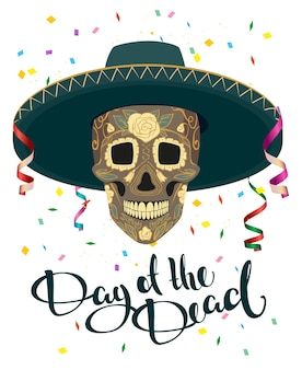 Dag van de doden. schedel in mexicaanse hoed. dia de muertos. illustratie in formaat