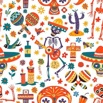 Dag van de doden viering van mexicaanse feestdagen, naadloos patroon van skelet gitaar spelen