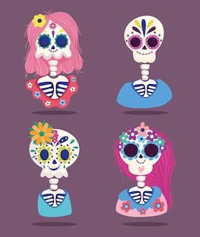 Dag van de doden, vrouwelijke en mannelijke skeletten bloemen decoratie traditionele mexicaanse viering