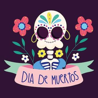 Dag van de doden, vrouwelijke skelet met oorbellen bloemen traditionele mexicaanse viering