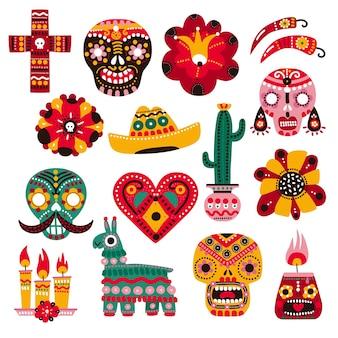 Dag van de dood. mexicaanse vakantie-elementen, decoratief schedelmasker, kaars en bloem. sombrero, lama en cactus. dia de muertos set.