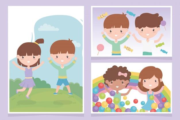 Dag van de gelukkige kinderen, schattige kleine kinderen viering wenskaarten vector illustratie