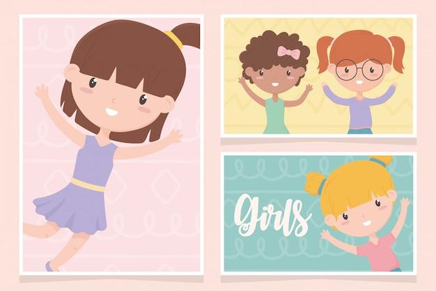 Dag van de gelukkige kinderen, schattige kleine meisjes cartoon karakter portret vectorillustratie