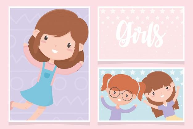 Dag van de gelukkige kinderen, schattige kleine meisjes stripfiguur portret kaarten vector illustratie