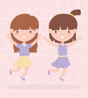 Dag van de gelukkige kinderen, twee kleine meisjes met handen omhoog vieren cartoon vectorillustratie