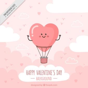 Dag van de gelukkige valentijnskaart met lachende hete luchtballon