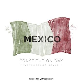 Dag van de grondwet achtergrond met waterverf mexicaanse vlag
