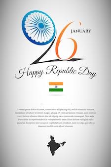 Dag van de indische republiek 26 januari kleur vector ontwerpconcept