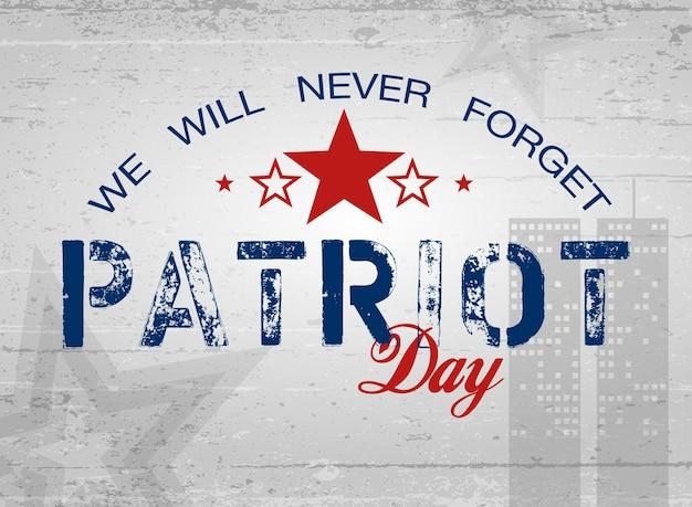 Dag van de patriot. belettering. poster, kaarten, banners, sjabloon