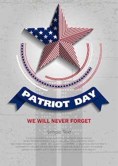 Dag van de patriot. vector illustratie. 11 september