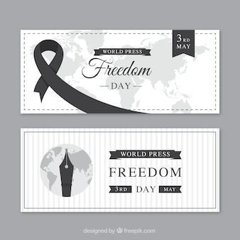 Dag van de persvrijheid banners met zwarte elementen