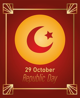 Dag van de republiek turkije, wenskaart met gouden frame decoratie illustratie