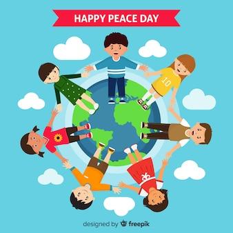 Dag van de samenstelling van de vrede met kinderen hand in hand