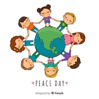 Dag van de vredessamenstelling met hand getrokken kinderen