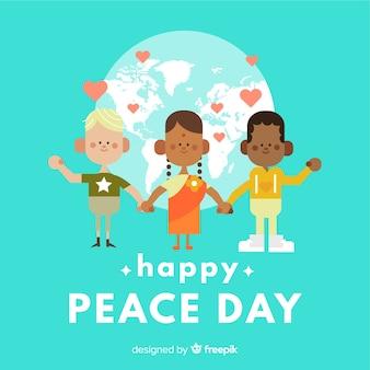 Dag van de vredessamenstelling met platte kinderen