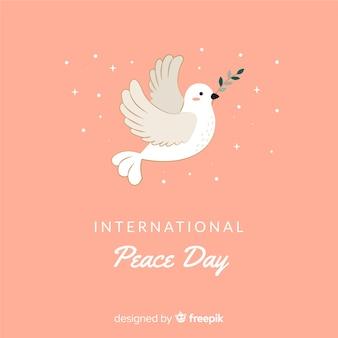 Dag van de vredessamenstelling met platte witte duif
