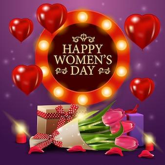 Dag van de vrouw groet paarse kaartsjabloon