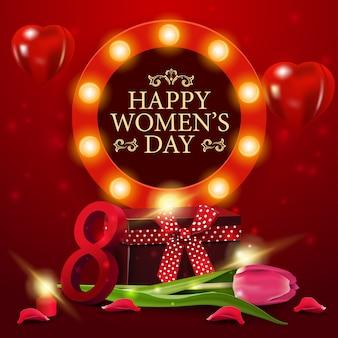 Dag van de vrouw groet rode kaartsjabloon met cadeau en tulip