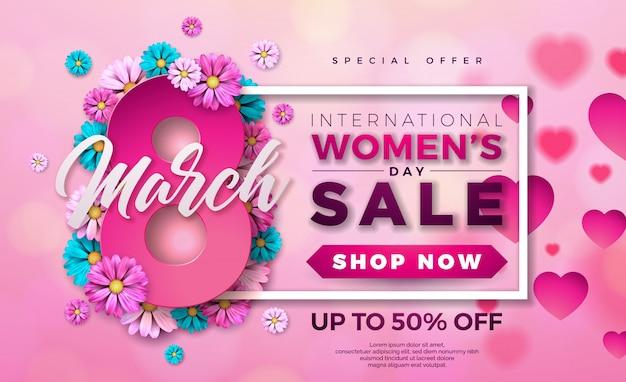 Dag van de vrouw te koop ontwerp met bloem op roze achtergrond