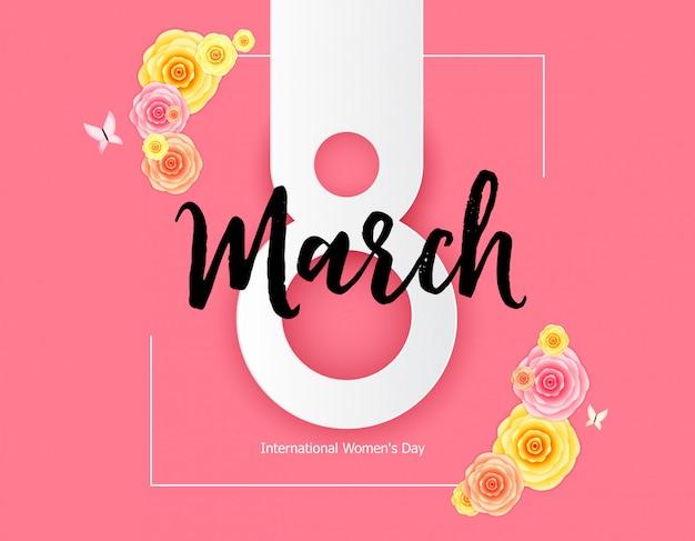 Dag van de vrouw wenskaart 8 maart vectorillustratie